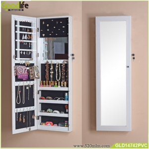 Wall mount and hang over the door Jewelry cabinet with mirror