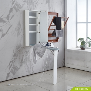 Wall mount mirrored ironing board cabinet