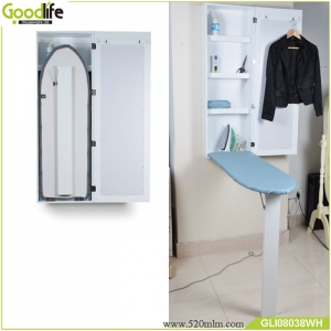 Wall mounted Fold Out Mirrored Wooden Ironing  Board Cabinet GLI08038