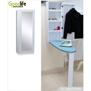 Wall mounted folding wood Ironing board cabinet with mirror GLI08035