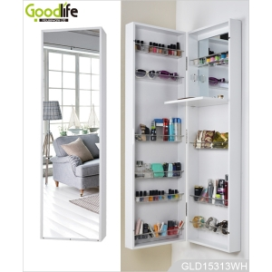 Wall mounted or hanging over the door mirrored makeup cabinet for bedroom bathroom and living room GLD15313
