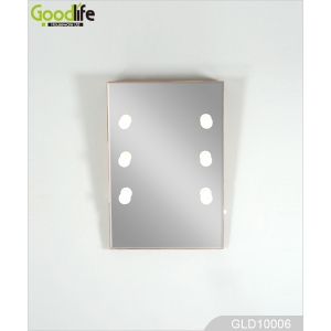 Wall mounted slanting mirror with six  adjustable LED lights GLD10006