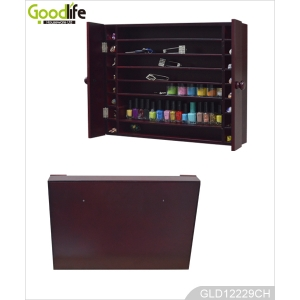 Wall mounted wooden display rack for nail polishes and other small women's accessories