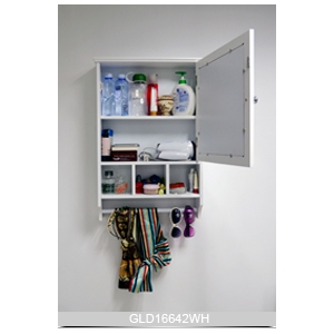 wall mounted wooden mirrored bathroom storage cabinet gld16642