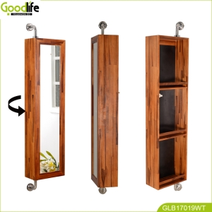 Water-proof and Rotating bathroom solid teak wood furniture made in China GLD17019