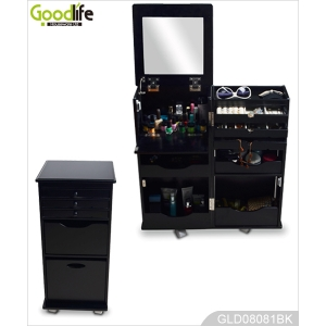 Wheeled foldable wooden storage cabinet for bedroom living room and bathroom GLD08081