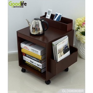 Wheeled wooden storage cabinet with folding panel and magazine holder GLD08080