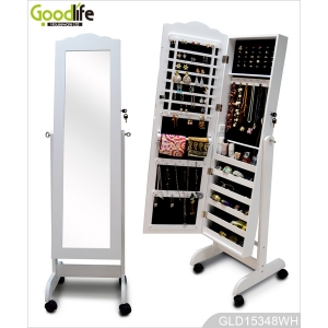 White floor standing mirror jewelry cabinet with full-length mirror GLD15348L