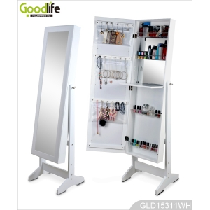 White makeup cabinet jewelry organizer with inside dressing mirror