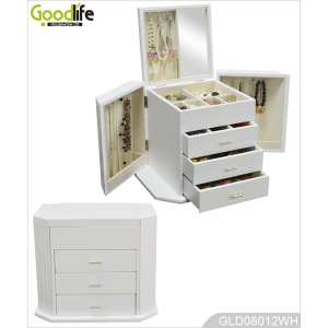 White painting wood jewelry storage box for women GLD08012