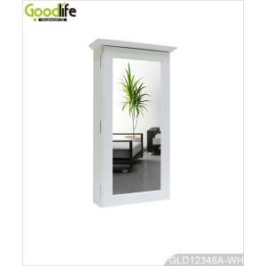 White wall mount key jewelry cabinet with a mirror GLD12346