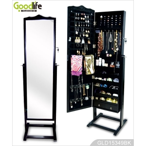 Wholesale china furniture wooden large jewelry mirror cabinet with floor standing
