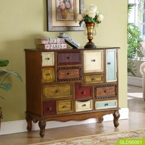 Wood modern new design storage chest with nine drawer two doors living room furniture cabinets of different specifications