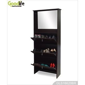 Wooden 3-layer Shoe Cabinet with Mirrored Storage Cabinet and Hooks GLS16620