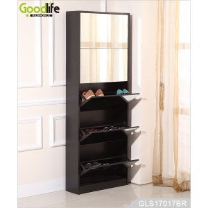 Wooden 5 layers shoe storage cabinet with full length mirror GLS17017