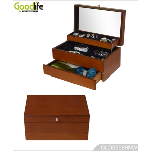Wooden Color Mirrored Jewelry Box with Auto Open GLD08069