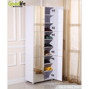 Wooden Mirrored 6 Door Shoe Cabinet With 9 Layer Shelves