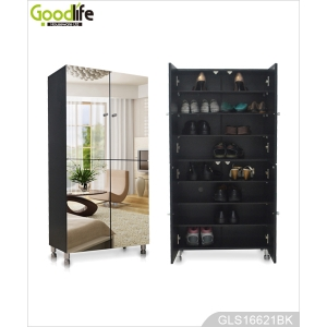 Wooden Mirrored Shoe Storage Cabinet with 8-layer Shelves inside GLS16621