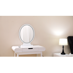 Wooden Vanity Mirror Can Adjust Light Color and Brightness With Remote Control