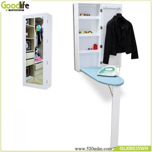 Wooden Wall mount mirror ironing board cabinet organizer made in China