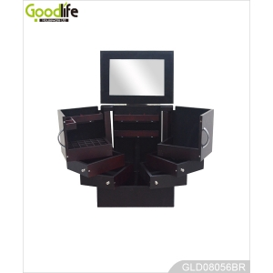 Wooden cosmetic box for jewelry and makeup storage GLD08056