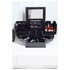 Wooden cosmetic makeup storage box GLD08056