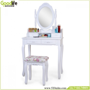 Wooden dressing table sets ,solid wood stand for mirror and stool GLT18574