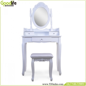 Wooden dressing table with mirror and 3 drawers GLT18572