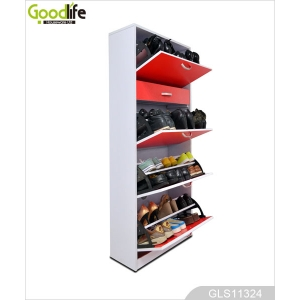Wooden furniture shoe cabinet design with drawer