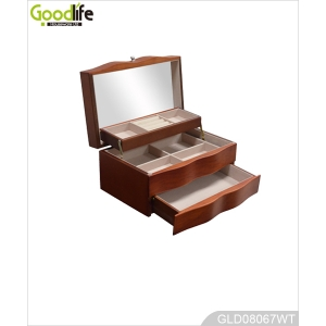 Wooden jewelry box linkage design with wavy edge banding