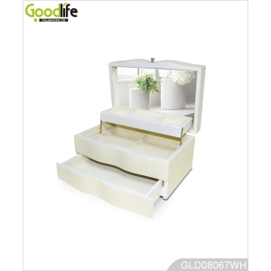 Wooden jewelry storage box and with makeup mirror GLD08067