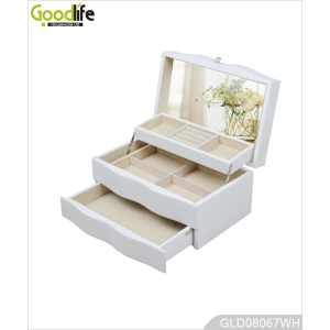 Wooden makeup and jewelry case with mirror