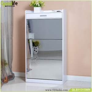 Wooden mirror Shoe cabinet furniture with a drawer,shoe rack wood cabinet with a drawer for OEM/ODM