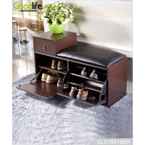 Wooden mirrored shoe cabinet stool with drawer cushioned seat GLS18816