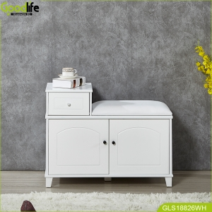 Wooden painting shoe cabinet furniture with seat China supplier