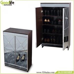 Wooden shoe cabinet with mirror China Supplier