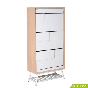 Chinese manufacturer latest design high-end wooden shoe cabinet with three layers one drawer.