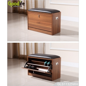 Wooden shoe organizing cabinet bench with leather seat GLS18815B