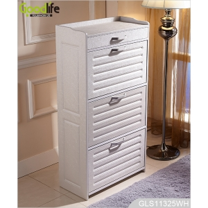 Wooden shoe storage cabinet with adjustable shoe rack inside GLS11325