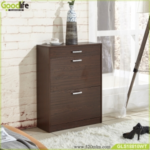 Wooden three doors shoe cabinet with a drawer GLS18810