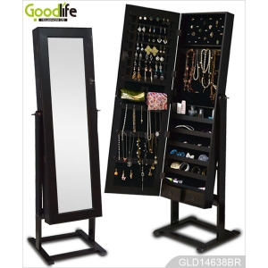 ebay furniture hot selling wooden mirrored jewelry cabinet with stand GLD14638