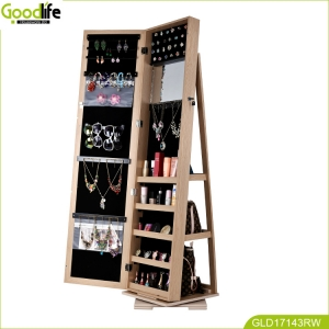 floor standing rotating jewelry accessory and bag shelf cabinet GLD17143