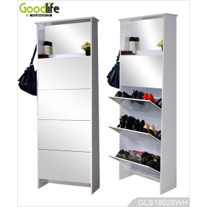 high quality ikea style mirror furniture tall shoe cabinet made in china