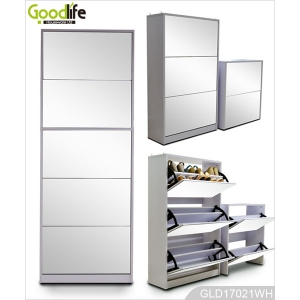 shoe cabinet wholesale 5 layers 3+2 combination shoe cabinet with full length dressing mirror