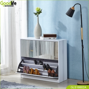 shoe wardobe  with  mirror and the inside cabinet with three layer storage shelf