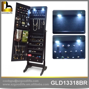 wall mount wooden jewelry cabinet with   full length mirror GLD13318W