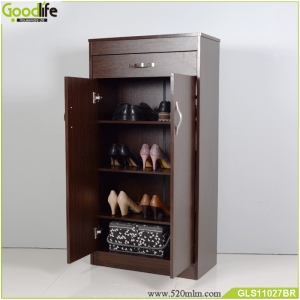 wooden modern shoe rack with 2 doors and drawer for living room  GLS11027