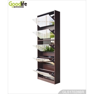 wooden shoe cabinet in foshan brown color mirrored shoe cabinet