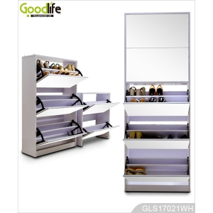 wooden shoe cabinet in foshan wholesale 5 layer shoe rack with mirror door