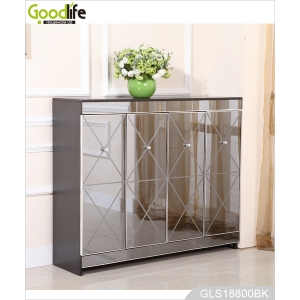 wooden storage cabinet for shoes with elegant mirror